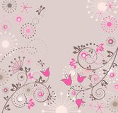 Greeting abstract floral card. With pink bluebells vector illustration