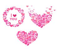 Greeting with abstract pink hearts Royalty Free Stock Images