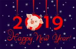 Greeting card for 2019 New Year with funny little pig, hanging paper cutting red numbers and cut out snowflakes. Greeting applique card for 2019 New Year with vector illustration