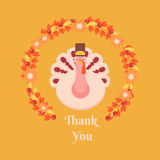 Greeting сard  Thanksgiving. Turkey wearing a hat is inside the flower wreaths, which is made up of autumn leaves and flowers, cranberry Royalty Free Stock Image