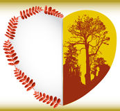 Greeting autumn card with leaves, heart and silhouettes of trees Royalty Free Stock Image