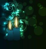Greeting av det glödande kortet med stearinljus för den Diwali festivalen Arkivbilder