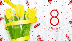 Greeting backdrop with yellow tulips Royalty Free Stock Photos