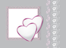 Greeting background with hearts and decorative roses Stock Photos