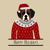Greeting background with Saint Bernard. A dog with a hat of Santa Claus.  Stock Photo