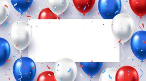 Free Greeting Background With White, Blue, And Red Helium Balloons Royalty Free Stock Photography - 137652207