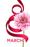 Greeting banner with gerbera flower and ribbon. 8 March - International Womens Day. Vector illustration Stock Image