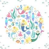 Greeting banner on the marine theme. Cute mermaids, seashells, marine animals. Royalty Free Stock Photo