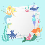Greeting banner on the marine theme. Cute mermaids, seashells, marine animals. Stock Images