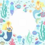 Greeting banner on the marine theme. Cute mermaids, seashells, marine animals. Stock Photography