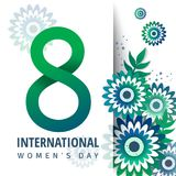 8 March. International Women`s Day. Greeting banner with 8 number, green flowers. International Women`s Day stock illustration