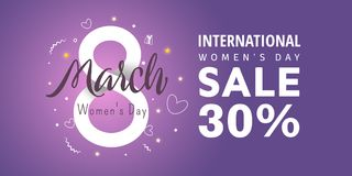 8 March International Women`s Day. Greeting banner with 8 number, stars. International Women`s Day - 30 percent discount vector illustration