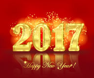 2017 greeting banner on the red background. Horizontal greeting banner with golden three-dimensional lettering 2017 and sparkling shine on the bright red Stock Photo