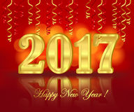 2017 greeting banner on the red background with paper streamer. Horizontal greeting banner with golden three-dimensional lettering 2017 on the bright red blurred Stock Photos