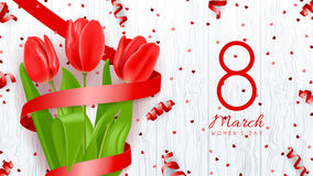 Greeting banner with red tulips Royalty Free Stock Photos