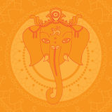 Greeting Beautiful card with Elephant. Design elements for birthday and other holiday. Hinduism God Ganesha with mandala. Line a. Rt indian religion royalty free illustration