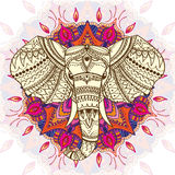 Greeting Beautiful card with Ethnic patterned head of elephant. stock illustration