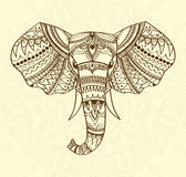 Greeting Beautiful card with indian patterned head of elephant. Vector illustration. Use for print, posters, t-shirts or. Any other kind design. african indian Stock Photography