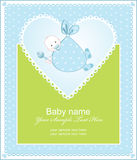 Greeting the birth of a boy with a heart Royalty Free Stock Photos