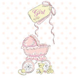 Greeting the birth of a girl. Children postcard . Children's items . Wheelchair . Vintage postcard. Royalty Free Stock Image