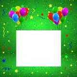 Greeting or Birthday Card with Balloons Confetti Copy Space. Colorful birthday greeting card with balloons Stock Photography