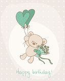 Greeting Birthday Card with Cute Bear Royalty Free Stock Photos