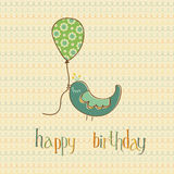 Greeting Birthday Card with Cute Bird Stock Image