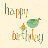 Greeting Birthday Card with Cute Bird Royalty Free Stock Image