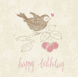 Greeting Birthday Card with Cute Bird Royalty Free Stock Images