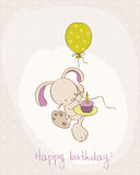 Greeting Birthday Card with Cute Bunny Stock Photo