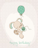 Greeting Birthday Card with Cute Bunny Royalty Free Stock Photos