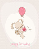 Greeting Birthday Card with Cute Bunny Stock Photos