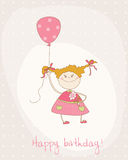 Greeting Birthday Card with Cute Girl Stock Photography