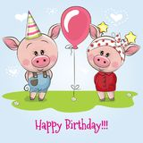 Greeting birthday card with cute Pigs royalty free illustration