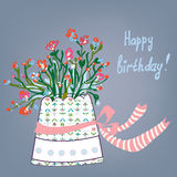 Greeting birthday card with flowers Royalty Free Stock Photography