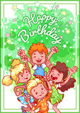 Greeting birthday card with a happy kids. Vector template postcard in green tones Royalty Free Stock Photos