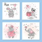 Greeting birthday cards set with cute little animals. Vector illustration Royalty Free Stock Photography