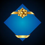 Greeting blue card with gold bow Royalty Free Stock Image