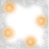 Greeting blur background with contour calendula flowers Stock Photo