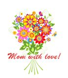 Greeting with bouquet for Mothers day Stock Image