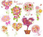 Greeting bouquets. Collection of funny greeting bouquets Stock Image
