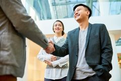 Greeting Business Partner with Handshake royalty free stock photos