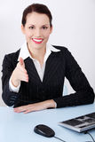 Greeting businesswoman. Royalty Free Stock Images