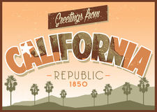 Greeting from california in dirty texture Royalty Free Stock Image