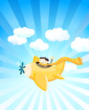 Greeting Card. With a Cheerful Boy in a Plane Royalty Free Stock Photography