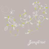 Greeting card. Spring greeting card with flower ornament vector illustration