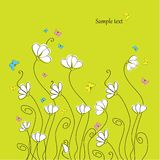 Greeting card. Or wedding card with flowers stock illustration