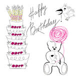 Greeting card. With inscription happy birthday Royalty Free Stock Photos