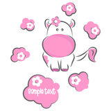 Greeting card. Moxy Patty the cow greeting card with place for your text, vector Stock Image