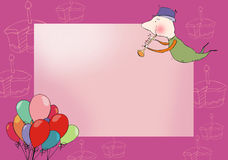 Greeting card. Pink greeting card with funny drawings Royalty Free Stock Photo